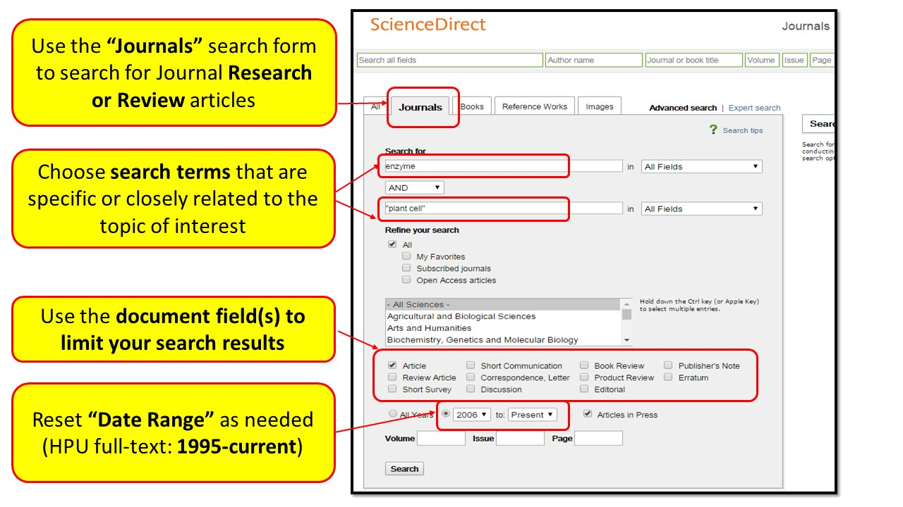 Guide on the Side: How To Search ScienceDirect? Single-Page View